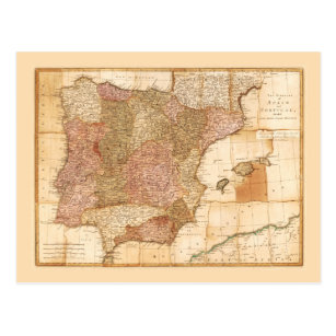 Kingdoms of Spain and Portugal Map by R Sayer 1772 Postcard