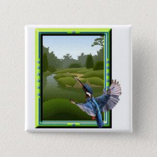 Kingfisher 15 Cm Square Badge