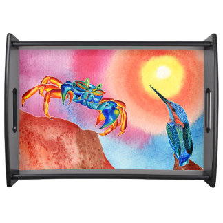 Kingfisher and Blue crab serving tray