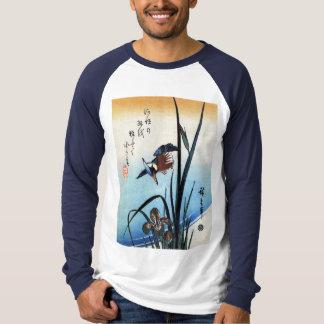 Kingfisher and Lilies, Hiroshige T-Shirt