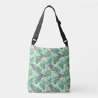 Kingfisher. Bird and leaves Crossbody Bag