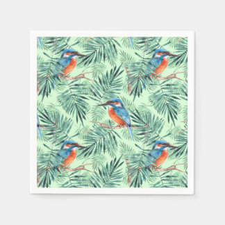 Kingfisher. Bird and leaves Disposable Serviette