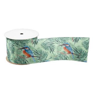 Kingfisher. Bird and leaves Satin Ribbon