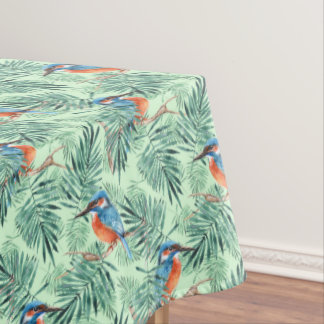 Kingfisher. Bird and leaves Tablecloth