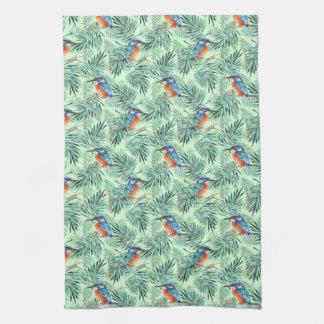 Kingfisher. Bird and leaves Tea Towel