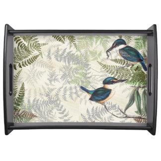 Kingfisher Bird Ferns Wildlife Animal Serving Tray