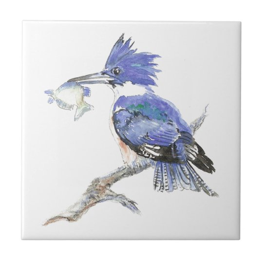 Kingfisher, Bird, Nature, Watercolor Animal Tile