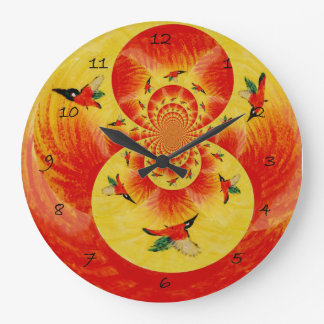 Kingfisher Bird Sunset art Large Clock