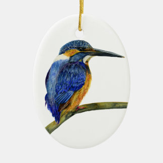 Kingfisher Bird Watercolor Halcyon Bird Ceramic Oval Decoration