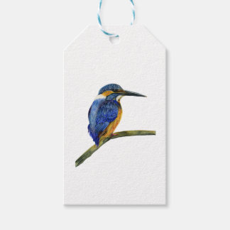 Kingfisher Bird Watercolor Halcyon Bird Gift Tags