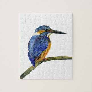Kingfisher Bird Watercolor Halcyon Bird Jigsaw Puzzle