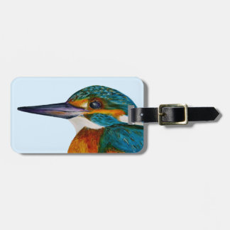 Kingfisher Bird Watercolor Halcyon Bird Luggage Tag