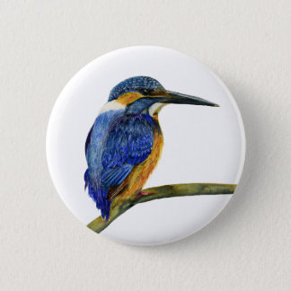 Kingfisher Bird Watercolor Halcyon Bird Pin Badge