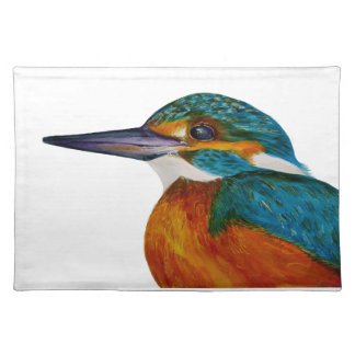 Kingfisher Bird Watercolor Halcyon Bird Placemat