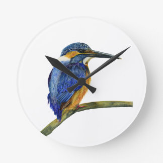 Kingfisher Bird Watercolor Halcyon Bird Round Clock