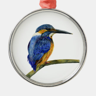 Kingfisher Bird Watercolor Halcyon Bird Silver-Colored Round Decoration