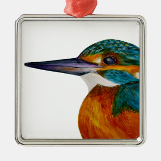 Kingfisher Bird Watercolor Halcyon Bird Silver-Colored Square Decoration