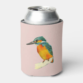 Kingfisher Bird Watercolor Painting Can Cooler