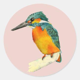 Kingfisher Bird Watercolor Painting Classic Round Sticker