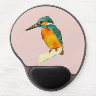 Kingfisher Bird Watercolor Painting Gel Mouse Mat