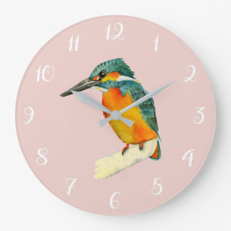 Kingfisher Bird Watercolor Painting Large Clock