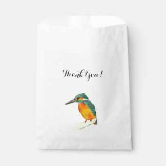 "Kingfisher Bird Watercolor Painting ""Thank You"" Favour Bags"