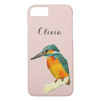 Kingfisher Bird Watercolor Painting with Name iPhone 7 Case