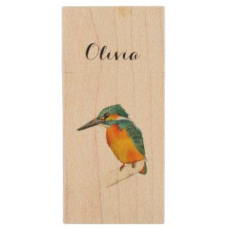 Kingfisher Bird Watercolor Painting Wood USB 2.0 Flash Drive