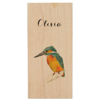 Kingfisher Bird Watercolor Painting Wood USB Flash Drive
