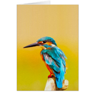 Kingfisher Bird Watercolor Portrait Card