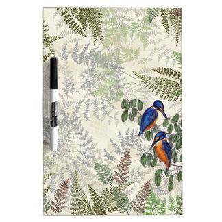 Kingfisher Birds Flowers Ferns Dry Erase Board