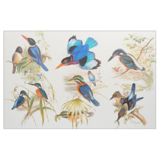 Kingfisher Birds Wildlife Animals Pond Fabric