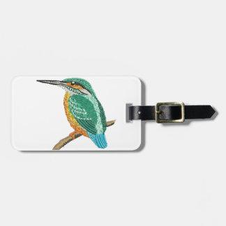 kingfisher embroidery imitation luggage tag
