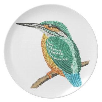 kingfisher embroidery imitation plate