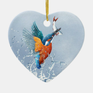 Kingfisher flying out of the water ceramic heart decoration