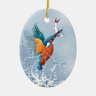 Kingfisher flying out of the water ceramic oval decoration