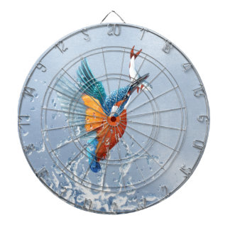 Kingfisher flying out of the water dartboard