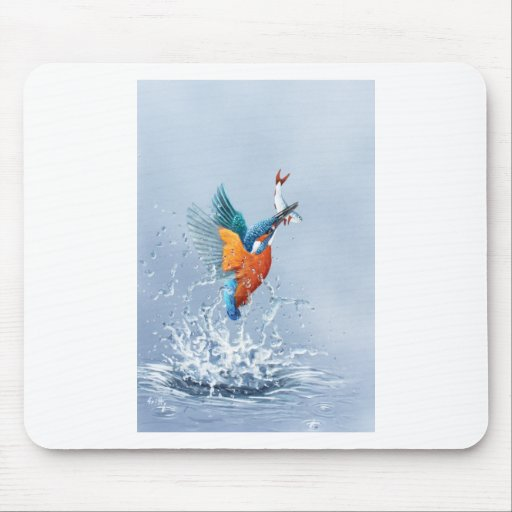 Kingfisher flying out of the water mousemat