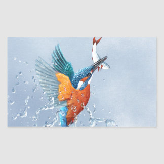 Kingfisher flying out of the water rectangular sticker