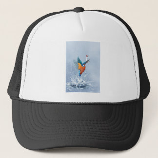 Kingfisher flying out of the water trucker hat
