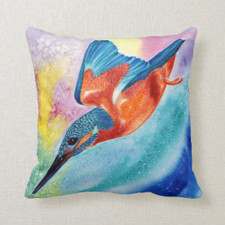 Kingfisher in flight design decorative pillow