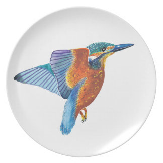 Kingfisher in flight dinner/decorative plate