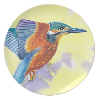 Kingfisher in flight dinner plate