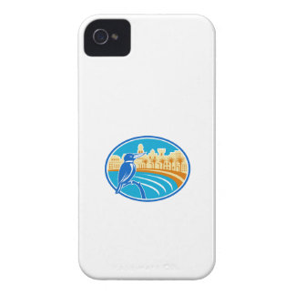 Kingfisher Mediterranean Coast Oval Retro Case-Mate iPhone 4 Cases