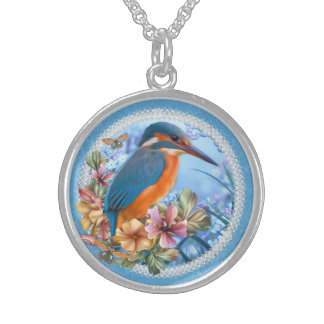 Kingfisher Medium Sterling Silver Round Necklace Round Pendant Necklace