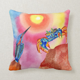Kingfisher talking to the Crab decorative pillow