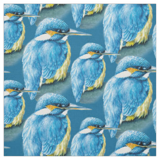 Kingfisher watercolor bird art blue fabric