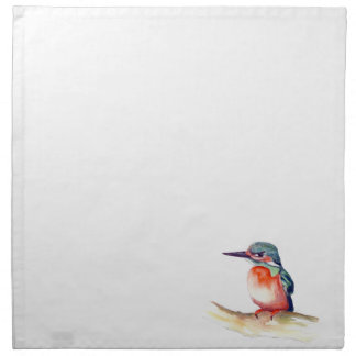 Kingfisher watercolor painting on items napkin