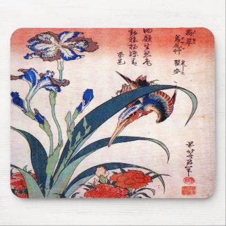 Kingfisher with Irises and Wild Pinks, Hokusai Mousepad