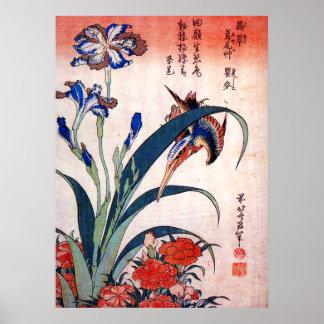 Kingfisher with Irises and Wild Pinks, Hokusai Poster